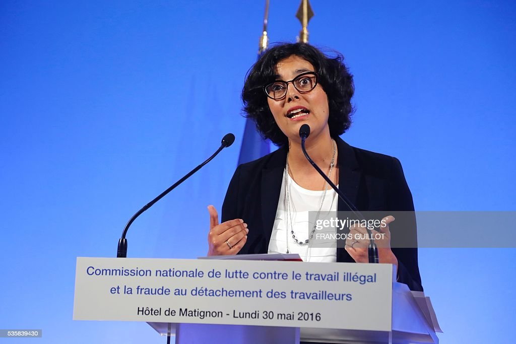 French Labour minister Myriam El-Khomri speaks after a national commission on the fight against undeclared work on May 30, 2016 at the hotel Matignon in Paris. / AFP / FRANCOIS