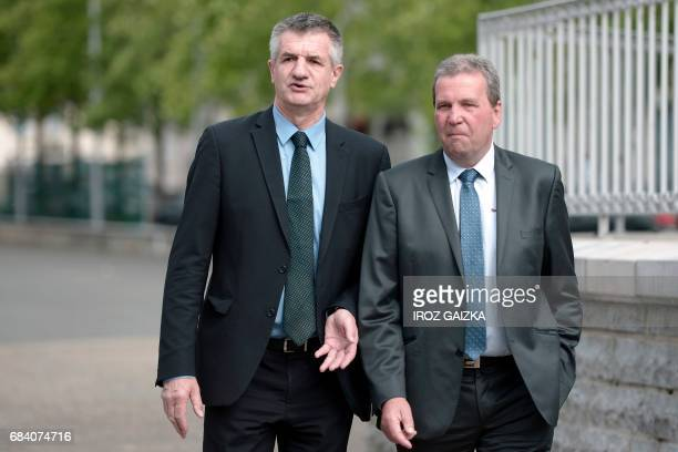 French lawmaker and former independent candidate for the presidential election Jean Lassalle flanked by former director of Spanghero and deputy...