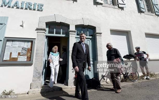 French lawmaker and independent candidate for French presidential election Jean Lassalle leaves the town hall in LourdiosIchere southwestern France...