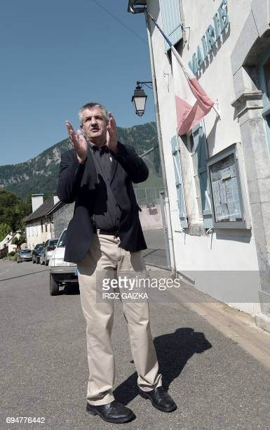 French lawmaker and independent candidate in the fourth constituency of the PyreneesAtlantiques in the legislative elections Jean Lassalle applauds a...