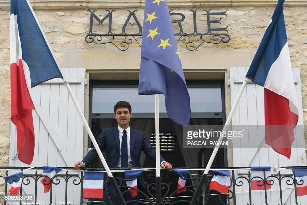 French lawmaker and Les Republicains party's mayor for LabastideMurat Aurelien Pradie poses on the city hall's balcony on June 23 2017 in...