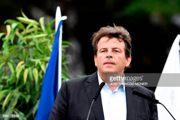 French lawmaker and rightwing 'Les Republicains' party member Thierry Solere delivers a speech during the LR political party summer camp on September...