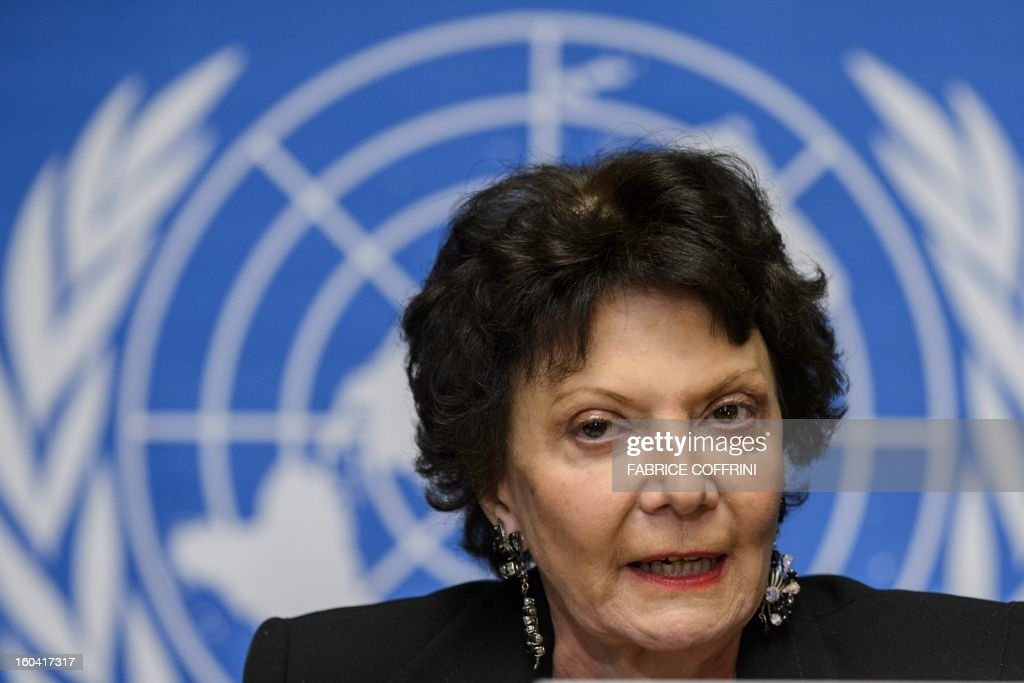 French lawyer and independent expert Christine Chanet looks on during a press conference on January 31, 2013 on the presentation of a report of a United Nations (UN) fact-finding mission on Israeli settlement in Palestinian territories at the UN offices in Geneva. Israel must immediately stop all settlement activity and start to withdraw its settlers from the Palestinian territories, a United Nations report said.