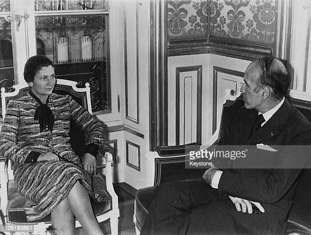French lawyer and politician Simone Veil the Minister of Health meets with President Valery Giscard d'Estaing at the Elysee Palace in Paris 2nd...