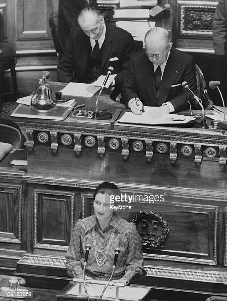 French lawyer and politician Simone Veil the Minister of Health addresses the French Senate in Paris on the subject of abortion 13th December 1974...