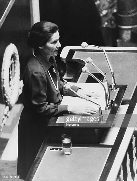 French lawyer and politician Simone Veil the Minister of Health addresses the National Assembly at the Palais Bourbon in Paris on the subject of...