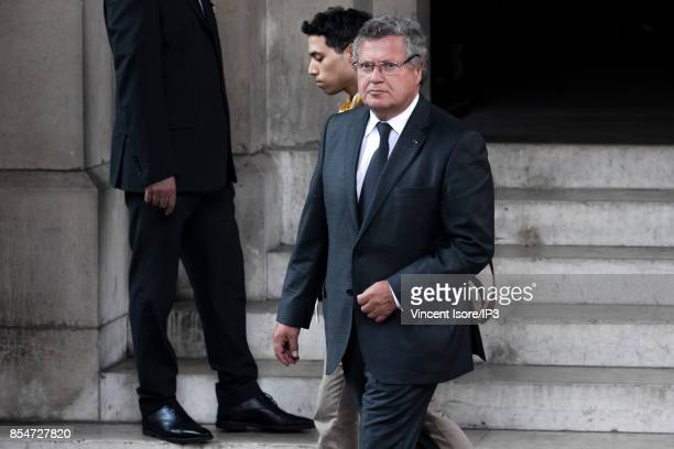 French lawyer and Simone Veil's son Jean Veil attends the Liliane Bettencourt's funeral organized at the Saint Pierre Church on September 26 2017 in...