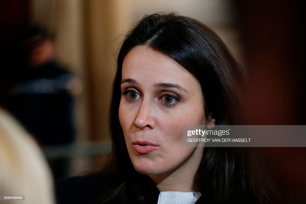french lawyer anne solene bouvier speaks to the press at the paris courthouse on march 7 2017 during the trial of a french narcotics police officer