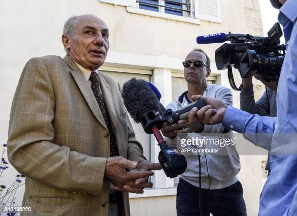 French lawyer Bernard Maraud representing a suspect arrested by the French gendarmerie answers journalists' questions on September 4 2017 in Morestel...