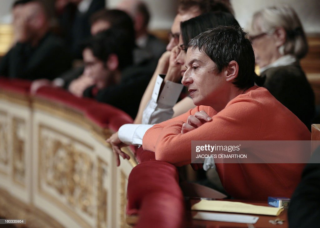 French lawyer Caroline Mecary, who is specialised on gay marriage and LGBT (lesbian, gay, bisexual, and transgender) parenting matters, attends the debate to legalize same-sex marriage on January 29, 2013 at the National Assembly in Paris. The French National Assembly is due to begin a marathon debate on legalising same-sex marriage after months of public protests and counter-protests.