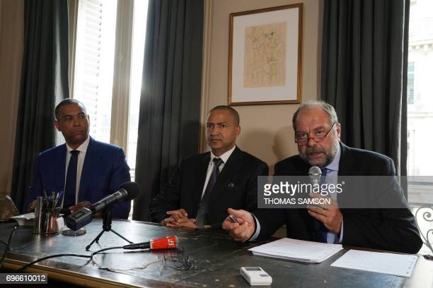 French lawyer Eric DupondMoretti speaks during a press conference with his client DR Congo's prominent opposition politician Moise Katumbi and his...