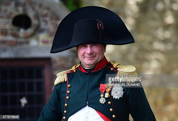 French lawyer Franck Samson dressed as Napoleon Bonaparte poses for photographs during commemorations marking the 200th anniversary of The Battle of...