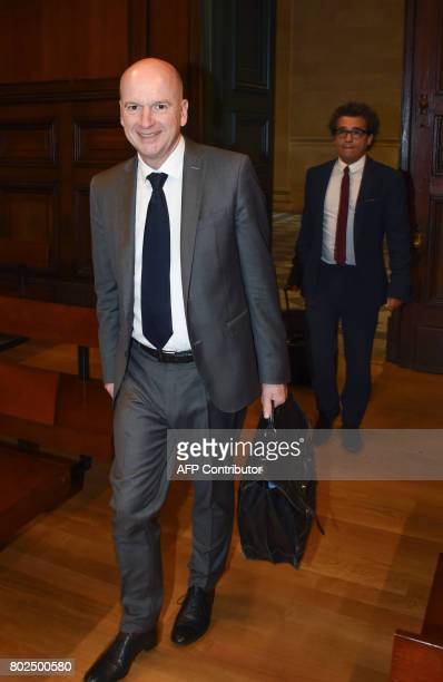 French lawyer François SaintPierre arrives for an appeal trial at the Bordeaux's courthouse on June 28 2017 in the socalled Bettencourt affair where...