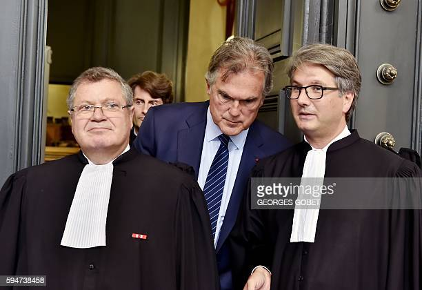 French lawyer Jean Weil Liliane Bettencourt's tutor Olivier Pelat and lawyer of Liliane Bettencourt Arnaud Dupin leave after the appeal trial at the...