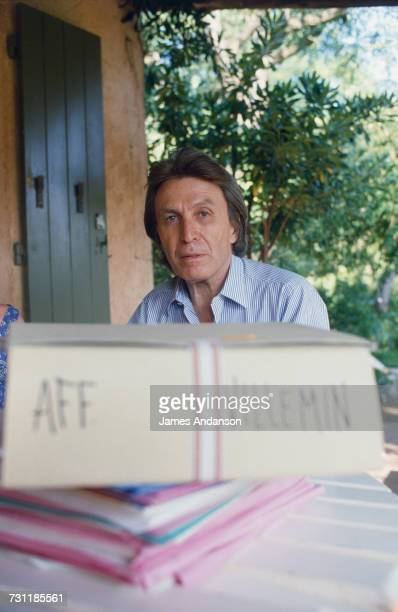 French lawyer Paul Lombard on vacation in St Tropez France 28th July 1985 He has in front of him files on the Villemin affair in which he is...
