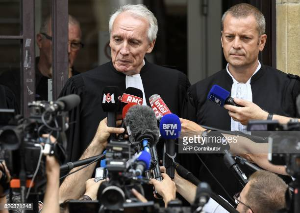 French lawyers of key witness in the Gregory case Murielle Bolle JeanPaul Teissonniere and Christophe Ballorin speak to journalists outside the Court...