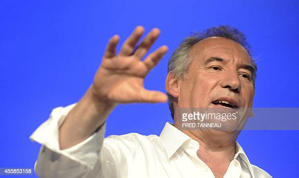 French leader of Modem party François Bayrou delivers a speech on the last day of a meeting marking the start of the party's political year on...