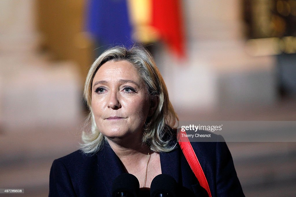 French leader of the French Far-right party Front National (FN) <a gi-track='captionPersonalityLinkClicked' href=/galleries/search?phrase=Marine+Le+Pen&family=editorial&specificpeople=588282 ng-click='$event.stopPropagation()'>Marine Le Pen</a> arrives at the Elysee Presidential Palace for a meeting with French President Francois Hollande on November 15, 2015 in Paris, France. Francois Hollande meets party leaders today after a series of fatal shootings in Paris on Friday.