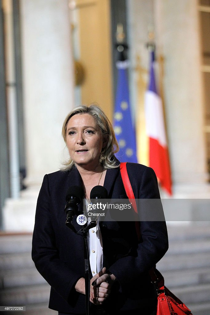 French leader of the French Farright party Front National Marine Le Pen delivers a speech after a meeting with French President Francois Hollande at...