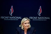 French leader of the French farright party Front National Marine Le Pen delivers a press conference in Vannes western France on November 20 2015 as...