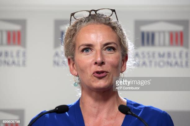 French left wing Socialist party MP Delphine Batho delivers a speech during a joint press conference with newly reelected French socialist party's...