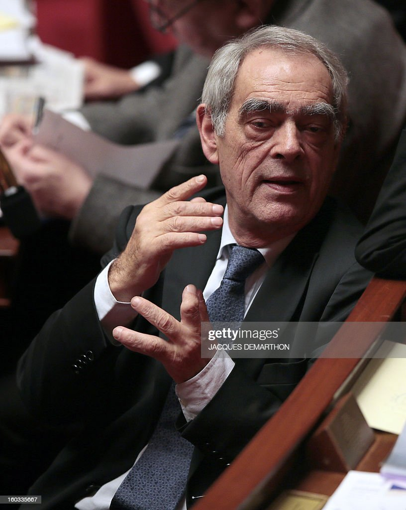 French left wing Socialist Party (SRC) MP Henri Emmanuelli attends a speech at the National Assembly on January 29, 2013 in Paris. The French National Assembly is due to begin a marathon debate on legalising same-sex marriage after months of public protests and counter-protests.