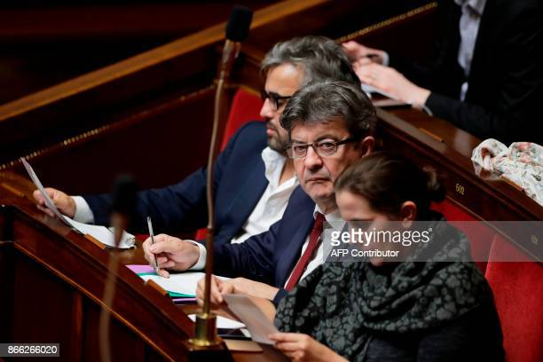 French leftist La France Insoumise leftist party leader and parliamentary group president JeanLuc Melenchon attends a session of questions to the...