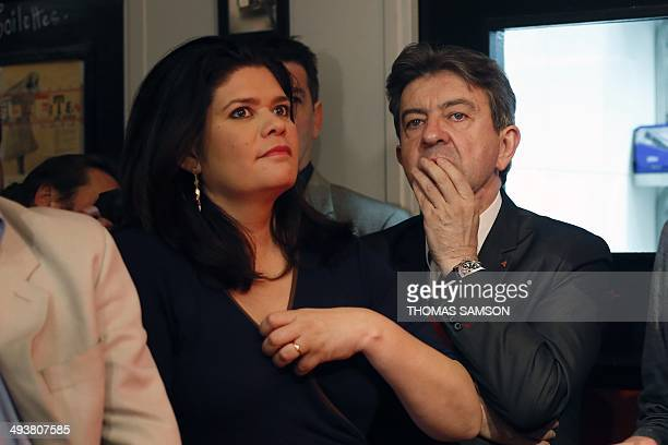 French leftwing party 'Parti de Gauche' copresident JeanLuc Melenchon looks on next to PG candidate in the IledeFrance region for the European...