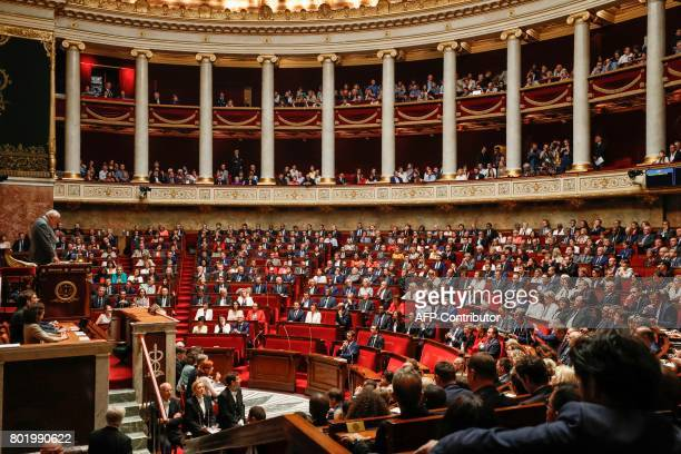 French Les Republicains party lawmaker Bernard Brochand the most senior member of the French National Assembly delivers a speech during the inaugural...