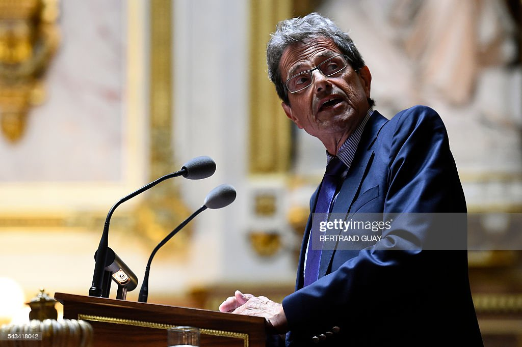 French Les Republicains party member and senator Alain Milon looks on as he delivers a speech during a debate concerning the labour reform at the French Senate in Paris on June 28, 2016. / AFP / BERTRAND