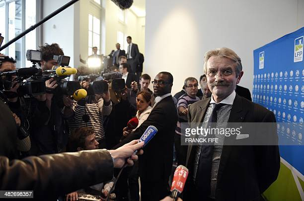 French Ligue de Football Professionnel President Frederic Thiriez smiles during a press conference on April 4 2014 in Paris The LFP awarded on April...