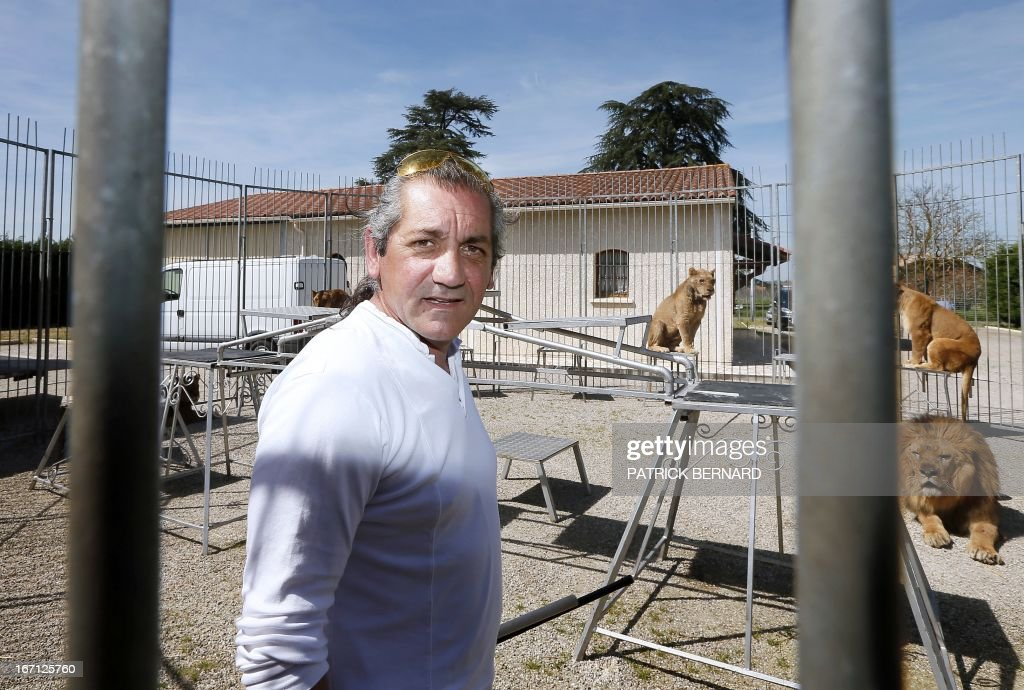 French lion tamer Frederik Rosel poses near his lions on April 17, 2013 in his garden in Sainte Livrade, southwestern France. Rosel awaits to sign a contract with a circus.