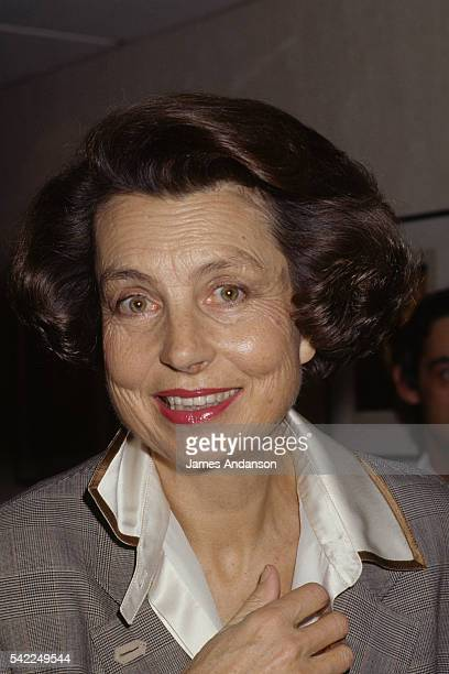 French L'Oreal heiress socialite businesswoman and philanthropist Liliane Bettencourt attends the premiere of the movie Les Pyramides bleues directed...