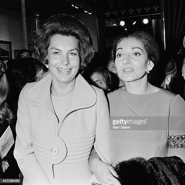 French L'Oreal heiress socialite businesswoman and philanthropist Liliane Bettencourt and Americanborn Greek soprano opera singer Maria Callas during...