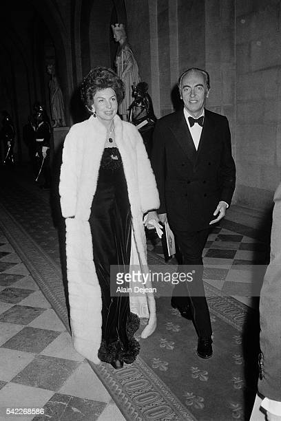 French L'Oreal heiress socialite businesswoman and philanthropist Liliane Bettencourt with her husband politician and Academic Andre Bettencourt...