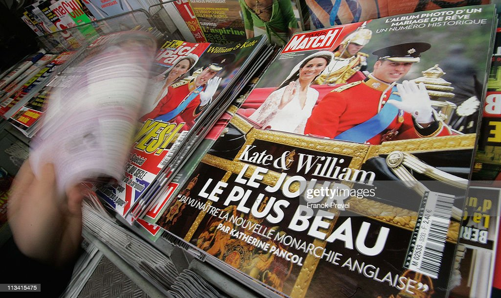 French magazines report the marriage of their Royal Highnesses Prince William, Duke of Cambridge and Catherine, Duchess of Cambridge following their wedding day on May 2, 2011 in Paris, France. The marriage of the second in line to the British throne was led by the Archbishop of Canterbury and was attended by 1900 guests, including foreign Royal family members and heads of state. Thousands of well-wishers from around the world flocked to London to witness the spectacle and pageantry of the Royal Wedding.