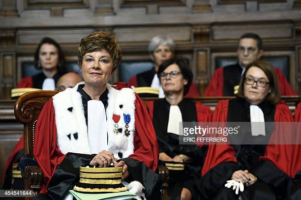 French magistrate Chantal Arens attends her installation as Paris Appeal Court's First President during a ceremony at the Paris courthouse on...