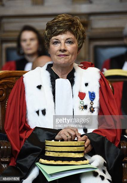 French Magistrate Chantal Arens looks on after being appointed the first President of the Court of Appeal of Paris on September 3 at the capital's...