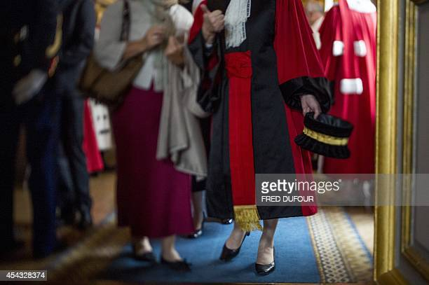 French magistrates arrive for a formal hearing at the Court of cassation on August 29 2014 at the Paris' courthouse The formal hearing of a court is...