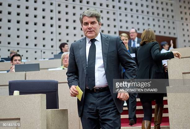 French main opposition rightwing party Les Republicains member and political advisor Franck Louvrier is pictured during the election of the President...