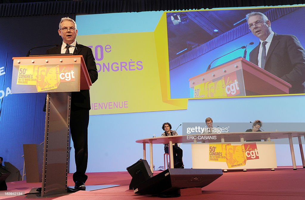 French major union CGT's newly designated general secretary Thierry Lepaon opens the CGT's 50th congress on March 18, 2013 at Toulouse's exhibition center.