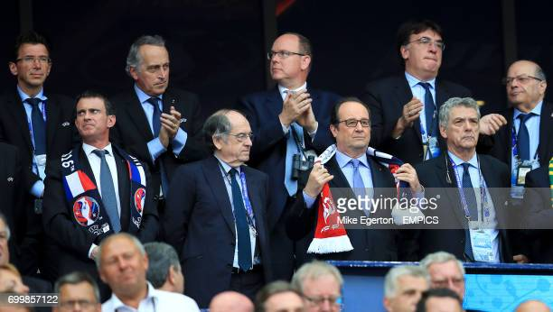 French Manuel Valls French Football Federation President Noel Le Graet French President Francois Hollande and Royal Spanish Football Federation...
