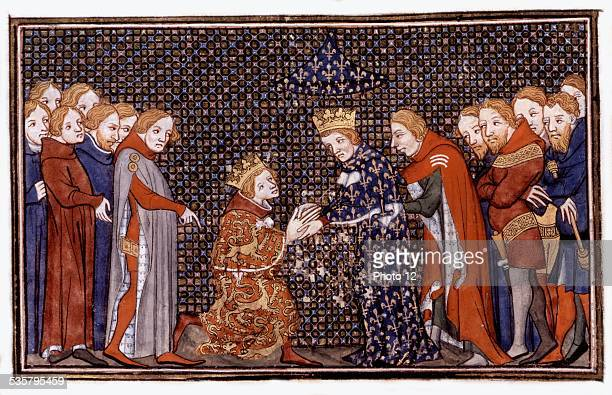 French manuscript Edward III taking the oath before Philip VI of Valois 14th century France Paris Bibliothèque de l'Arsenal