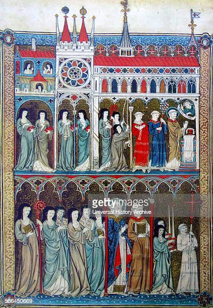 French manuscript portraying the ideal convent In the top row Mass is being celebrated behind the priest and his assistants stands the abbess with...