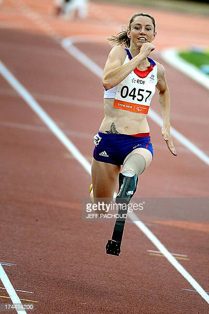 French Marie Amelie Le Fur competes during the Women's 100m T44 final at the IPC Athletics World Championships on July 25 2013 at the Rhone Stadium...