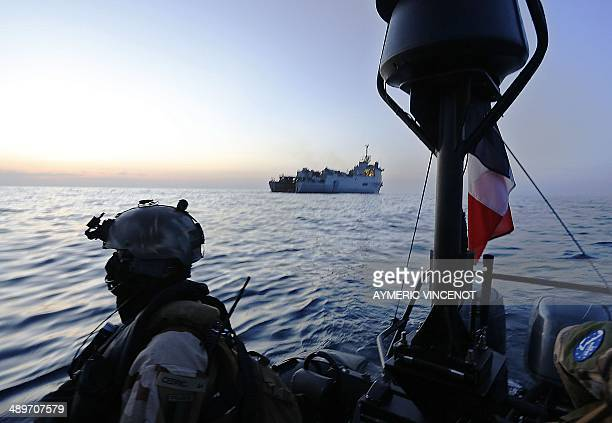 French marine commandos operate on a speed boat just off the French ship Sirocco attached the joint European Union Naval Force combating piracy off...