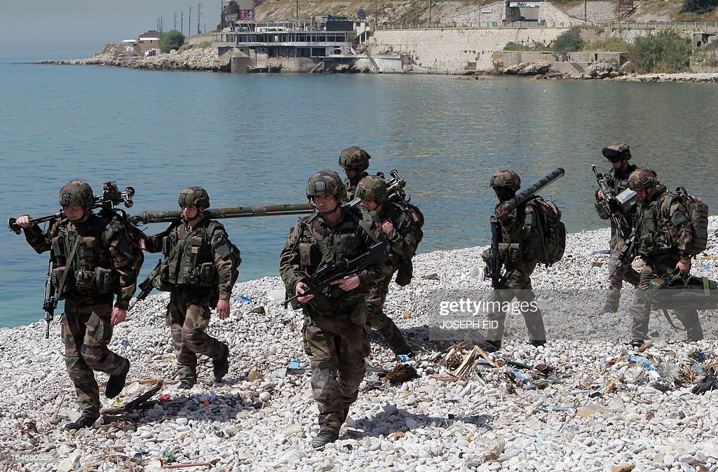 French marines take part in sea and land war games with the Lebanese Army at the bay of Jounieh, north of Beirut, on March 26, 2013.