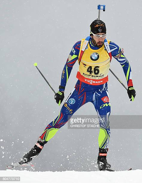 French Martin Fourcade competes during the men 20 kilometer individual competition at the Biathlon World Cup on January 13 2016 in Ruhpolding...