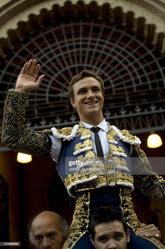 French matador Juan Bautista celebrates after a corrida at the Granada bullring on June 6, 2010 in Granada, southern Spain.