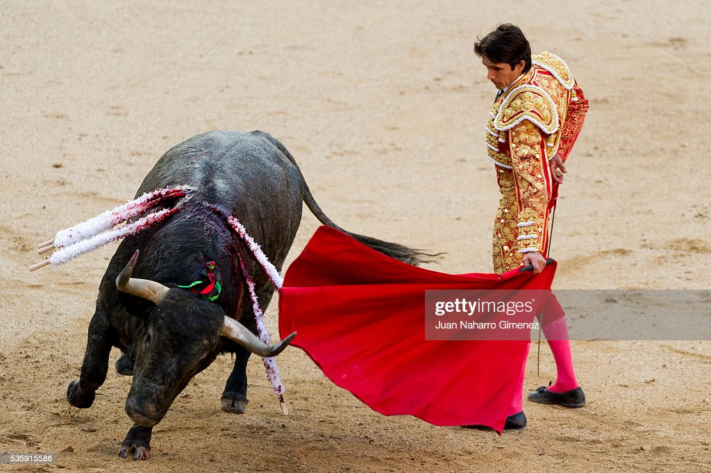 French matador <a gi-track='captionPersonalityLinkClicked' href=/galleries/search?phrase=Sebastian+Castella&family=editorial&specificpeople=577252 ng-click='$event.stopPropagation()'>Sebastian Castella</a> performs during the San Isidro bullfight festival at Las Ventas bullring on May 30, 2016 in Madrid, Spain.